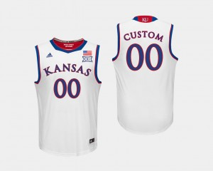 Kansas Jayhawks Custom Jerseys White Men's #00 College Basketball