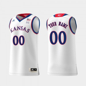 Kansas Jayhawks Customized Jerseys White #00 Swingman College Basketball Men Replica