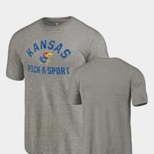 Kansas Jayhawks T-Shirt Pick-A-Sport Gray Tri-Blend Distressed Men