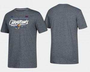 Kansas Jayhawks T-Shirt 2018 Big 12 Champions Mens Basketball Regular Season Heather Gray