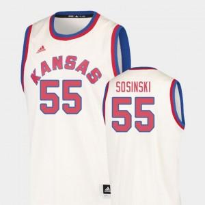 Kansas Jayhawks James Sosinski Jersey Cream #55 Hardwood Classics Men's College Basketball