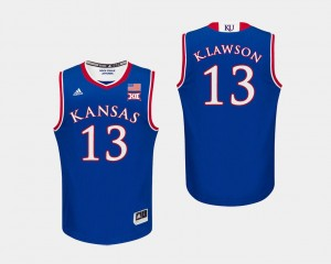 Kansas Jayhawks K.J. Lawson Jersey #13 Royal College Basketball Men's
