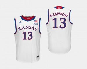 Kansas Jayhawks K.J. Lawson Jersey White #13 Men's College Basketball