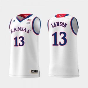 Kansas Jayhawks K.J. Lawson Jersey Swingman College Basketball Men's Replica White #13