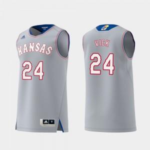 Kansas Jayhawks Lagerald Vick Jersey Replica #24 Mens Swingman College Basketball Gray