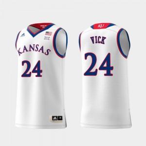Kansas Jayhawks Lagerald Vick Jersey White Swingman College Basketball Mens #24 Replica