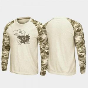 Kansas Jayhawks T-Shirt Raglan Long Sleeve Desert Camo OHT Military Appreciation Oatmeal For Men