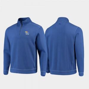 Kansas Jayhawks Jacket Half-Zip Pullover Tommy Bahama Royal College Sport Nassau Men