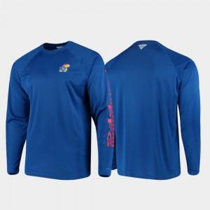 Kansas Jayhawks T-Shirt Men Omni-Shade Royal PFG Terminal Tackle Long Sleeve