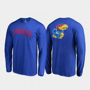 Kansas Jayhawks T-Shirt Men Long Sleeve Royal Primetime