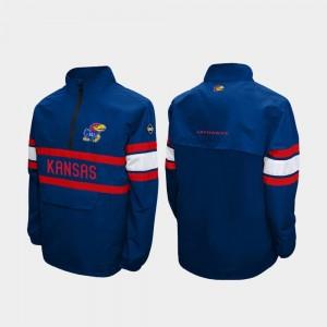 Kansas Jayhawks Jacket Alpha Windshell Pullover For Men Royal Quarter-Zip