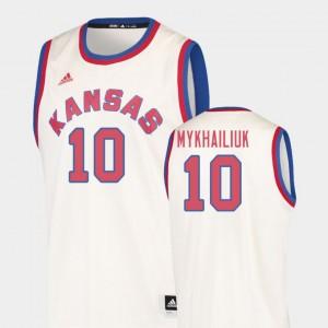 Kansas Jayhawks Sviatoslav Mykhailiuk Jersey Men's College Basketball #10 Hardwood Classics Cream