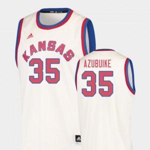 Kansas Jayhawks Udoka Azubuike Jersey Hardwood Classics Cream #35 College Basketball For Men's