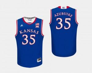 Kansas Jayhawks Udoka Azubuike Jersey For Men Royal College Basketball #35