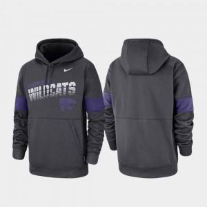 Kansas State Wildcats Hoodie Pullover Mens Anthracite Performance
