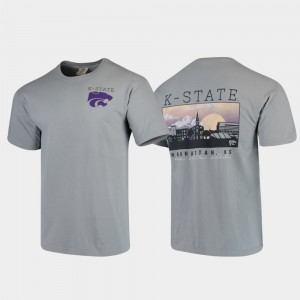 Kansas State Wildcats T-Shirt Comfort Colors Gray For Men's Campus Scenery