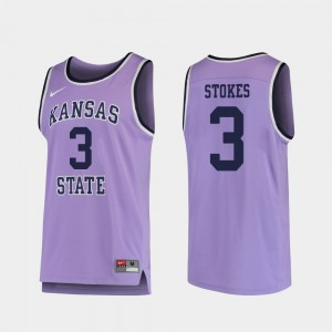 Kansas State Wildcats Kamau Stokes Jersey Purple #3 College Basketball Replica Men