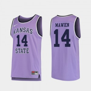 Kansas State Wildcats Makol Mawien Jersey Purple For Men College Basketball #14 Replica