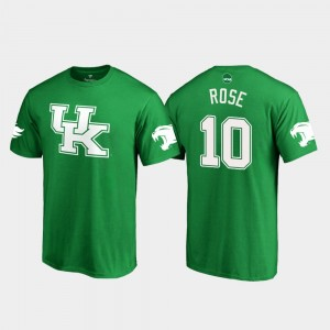 Kentucky Wildcats Asim Rose T-Shirt White Logo College Football St. Patrick's Day #10 Kelly Green For Men's
