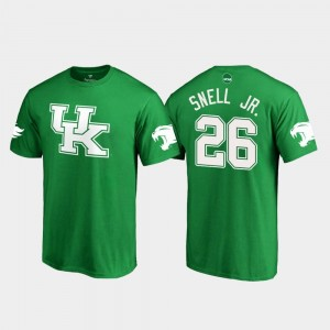Kentucky Wildcats Benny Snell Jr. T-Shirt For Men #26 White Logo College Football Kelly Green St. Patrick's Day