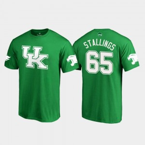 Kentucky Wildcats Bunchy Stallings T-Shirt White Logo College Football #65 For Men's St. Patrick's Day Kelly Green