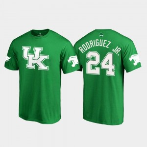 Kentucky Wildcats Christopher Rodriguez Jr. T-Shirt #24 White Logo College Football Kelly Green Mens St. Patrick's Day