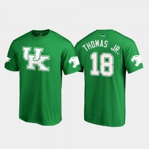 Kentucky Wildcats Clevan Thomas Jr. T-Shirt White Logo College Football Mens St. Patrick's Day #18 Kelly Green