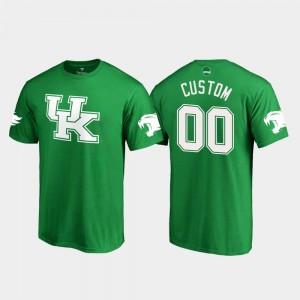Kentucky Wildcats Custom T-Shirts #00 For Men's St. Patrick's Day White Logo Kelly Green