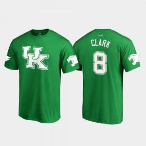 Kentucky Wildcats Danny Clark T-Shirt Kelly Green Men's St. Patrick's Day #8 White Logo College Football