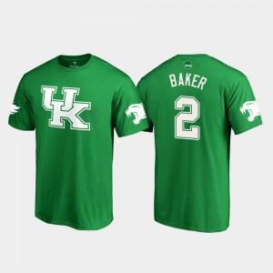 Kentucky Wildcats Dorian Baker T-Shirt Men St. Patrick's Day White Logo College Football Kelly Green #2