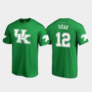 Kentucky Wildcats Gunnar Hoak T-Shirt White Logo College Football Men #12 Kelly Green St. Patrick's Day