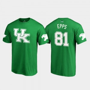 Kentucky Wildcats Isaiah Epps T-Shirt For Men Kelly Green #81 White Logo College Football St. Patrick's Day