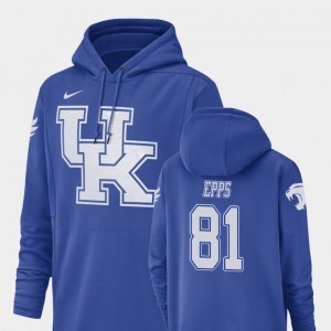 Kentucky Wildcats Isaiah Epps Hoodie Champ Drive Football Performance #81 Men's Royal