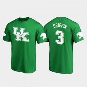 Kentucky Wildcats Jordan Griffin T-Shirt St. Patrick's Day Men's Kelly Green #3 White Logo College Football