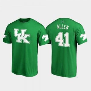 Kentucky Wildcats Josh Allen T-Shirt St. Patrick's Day #41 For Men's White Logo College Football Kelly Green