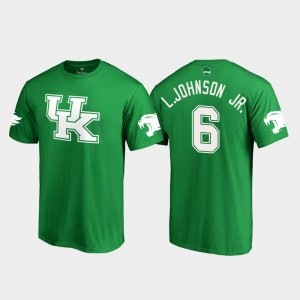 Kentucky Wildcats Lonnie Johnson Jr. T-Shirt White Logo College Football Men Kelly Green St. Patrick's Day #6