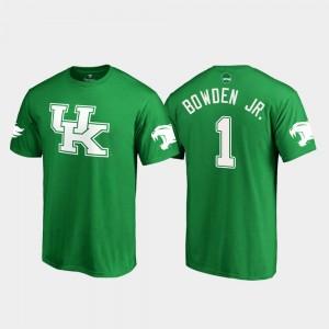 Kentucky Wildcats Lynn Bowden Jr. T-Shirt Kelly Green Men's St. Patrick's Day #1 White Logo College Football