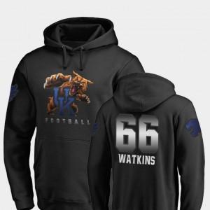 Kentucky Wildcats Naasir Watkins Hoodie Midnight Mascot #66 Men's Football Black