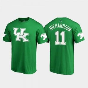 Kentucky Wildcats Tavin Richardson T-Shirt #11 Kelly Green For Men White Logo College Football St. Patrick's Day