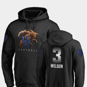Kentucky Wildcats Terry Wilson Hoodie For Men's #3 Black Midnight Mascot Football