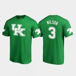Kentucky Wildcats Terry Wilson T-Shirt St. Patrick's Day Kelly Green White Logo College Football Mens #3
