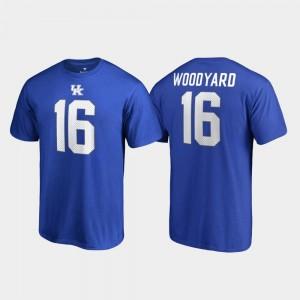 Kentucky Wildcats Wesley Woodyard T-Shirt Royal #16 College Legends Name & Number Men