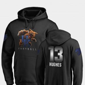 Kentucky Wildcats Zy'Aire Hughes Hoodie Midnight Mascot Black Football For Men #13