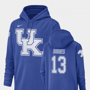 Kentucky Wildcats Zy'Aire Hughes Hoodie For Men #13 Football Performance Royal Champ Drive
