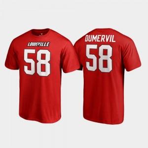 Louisville Cardinals Elvis Dumervil T-Shirt #58 College Legends Name & Number Red Men's