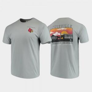 Louisville Cardinals T-Shirt For Men's Campus Scenery Comfort Colors Gray