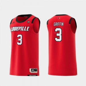 Louisville Cardinals Jo Griffin Jersey Red #3 For Men College Basketball Replica
