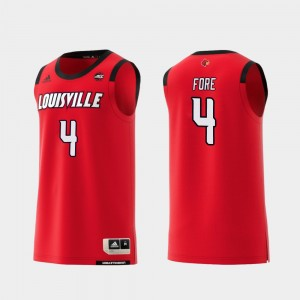 Louisville Cardinals Khwan Fore Jersey Red Replica College Basketball #4 For Men's