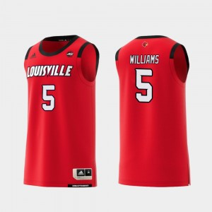 Louisville Cardinals Malik Williams Jersey Red Men Replica #5 College Basketball