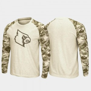 Louisville Cardinals T-Shirt Men Oatmeal Raglan Long Sleeve Desert Camo OHT Military Appreciation